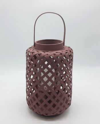 Lantern made of bamboo with glass included, in sepia color height 30 cm
