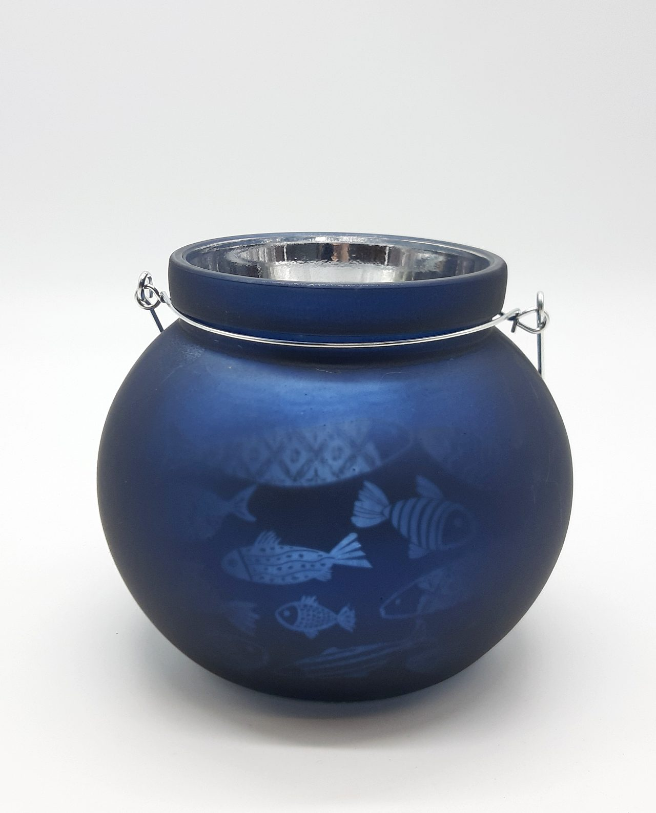 Φαναράκι για ρεσώ γυάλινο μπλε ναυτικό στρογγυλό με ψαράκια