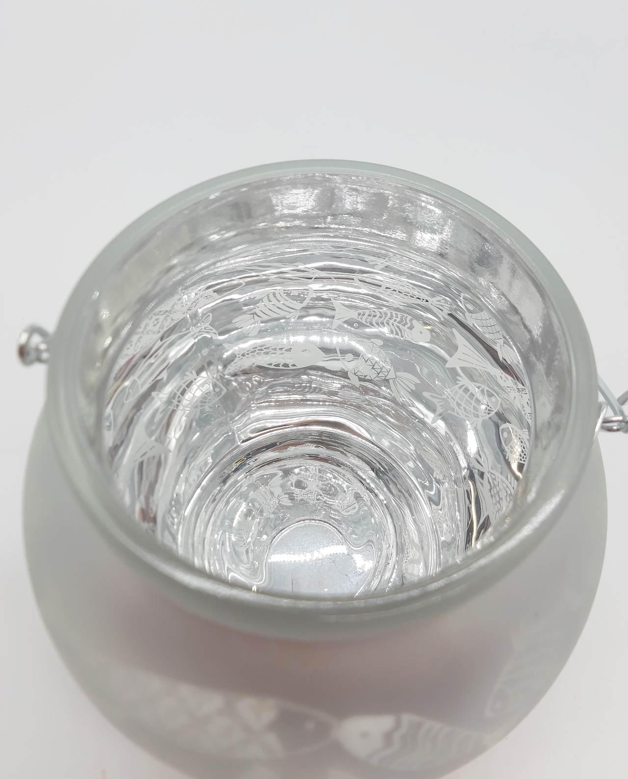 Φαναράκι για ρεσώ γυάλινο άσπρο στρογγυλό με ψαράκια φωτισμενο