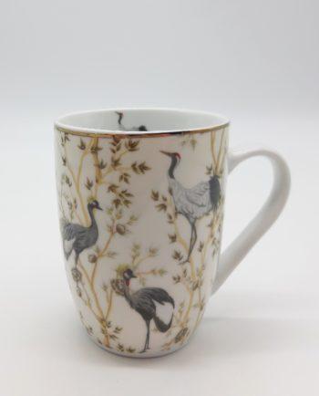 Mug beige Porcelain Pelican with Flowers & pelecans, 330 ml, dishwash safe