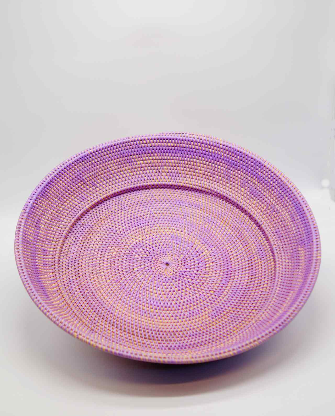 Bowl from Rattan lilac color, Dimension: height 10 cm, diameter 55 cm