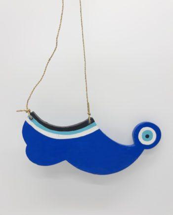 Tsarouhi Shoe Evil Eye Wooden Handmade Length 20 cm Blue