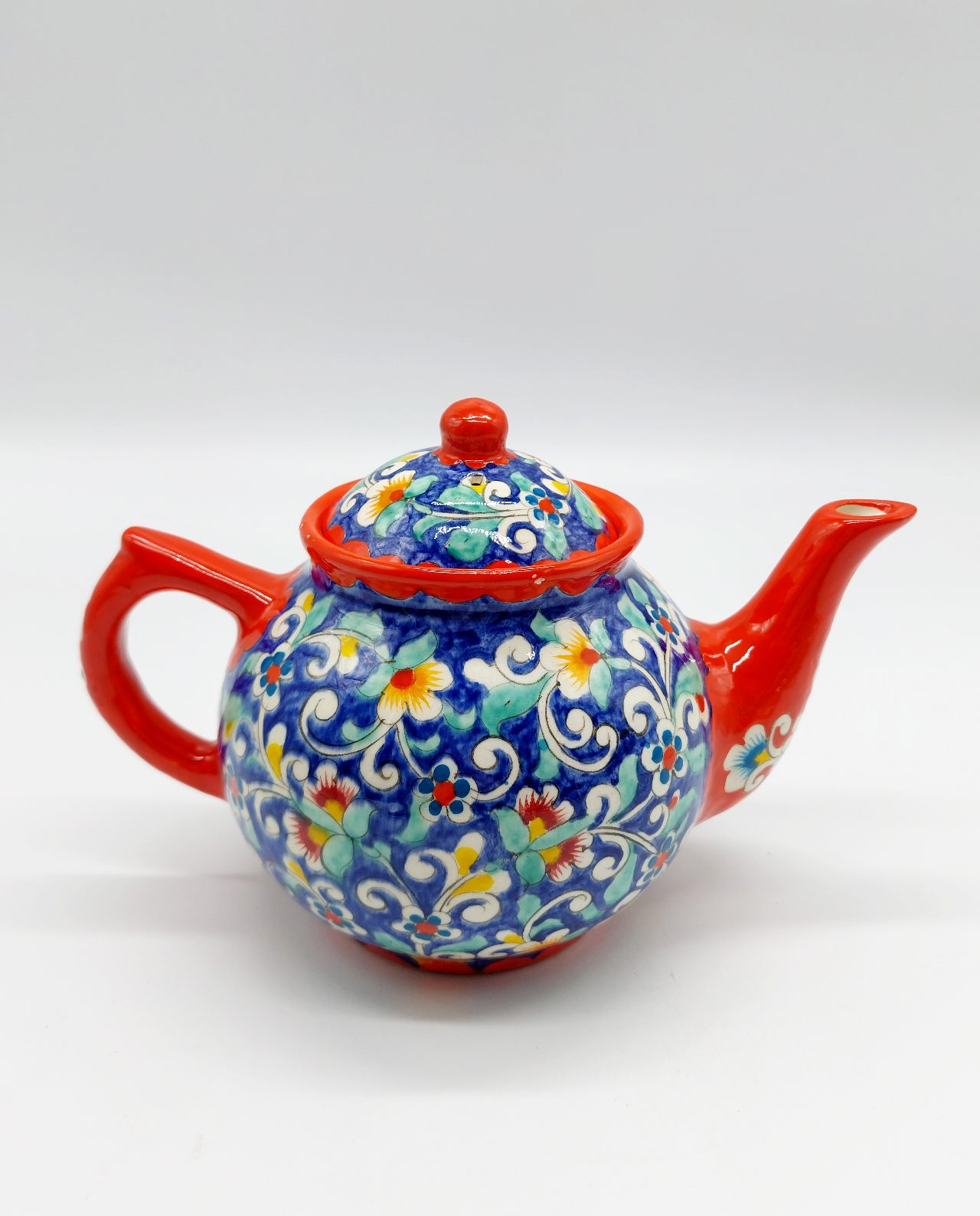 Teapot handmade hand painted with flowers