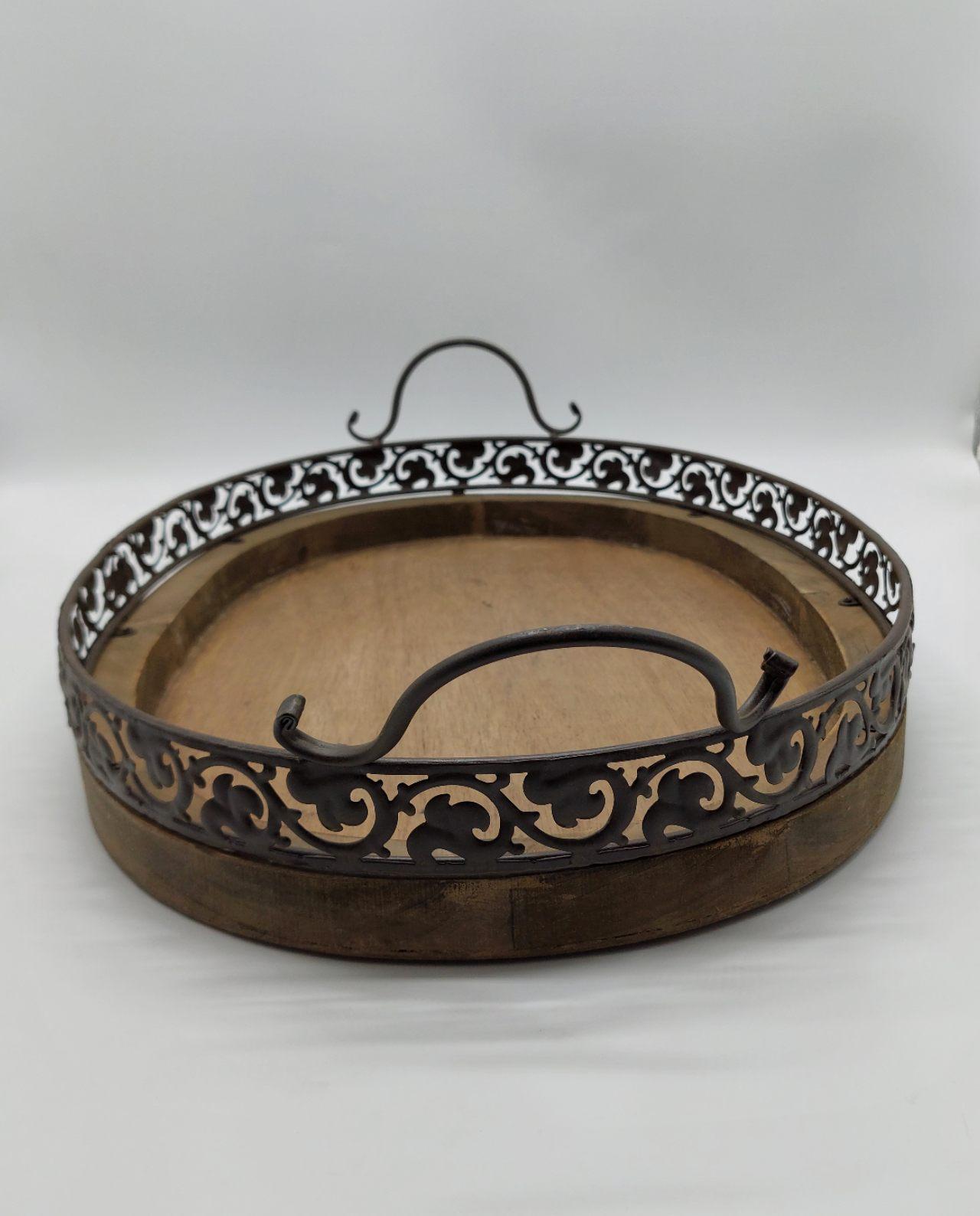 Tray Brown Wooden Metal 56 cm x 40 cm