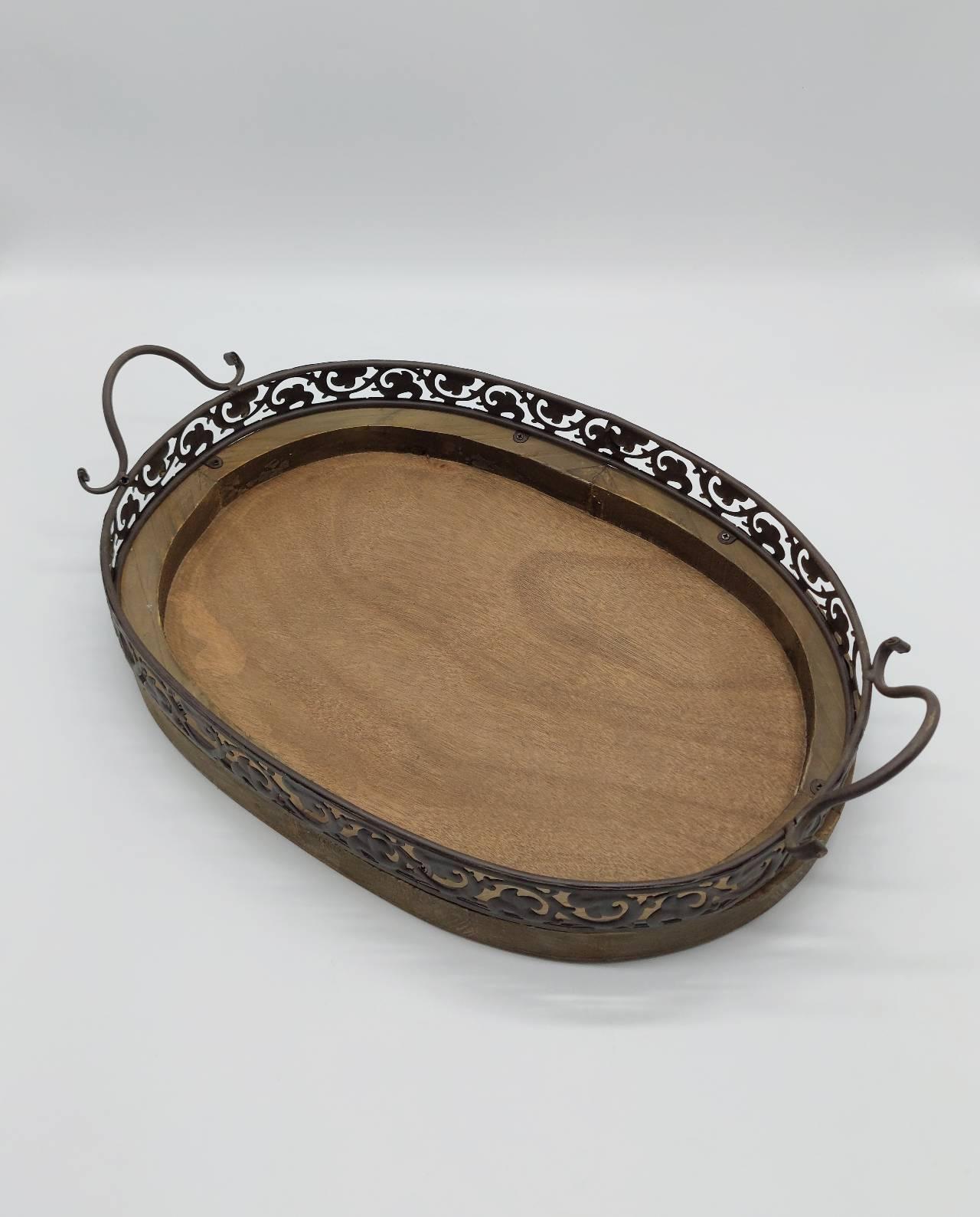 Tray Brown Wooden Metal 45 cm x 33 cm