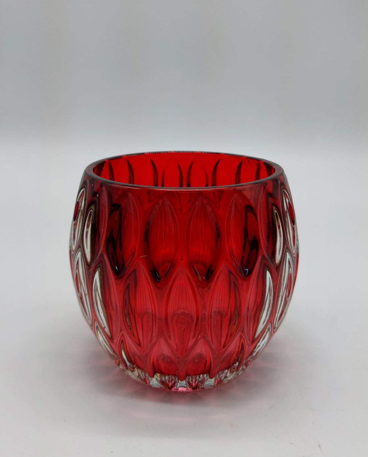 Tealight Glass Red Height 9 cm